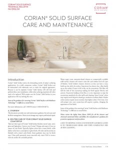Corian<sup>®</sup> Care and Maintenance