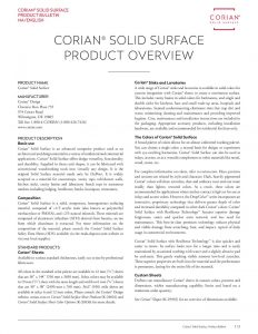 Corian<sup>®</sup> Product Overview